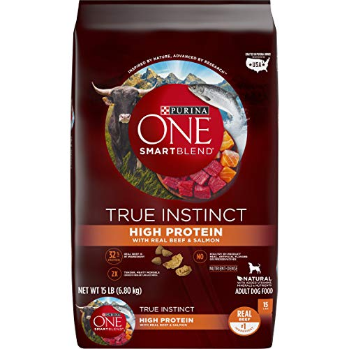 Purina ONE Natural High Protein Dry Dog Food SmartBlend True Instinct with Real Beef amp Salmon  15 lb Bag