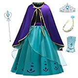 O.AMBW Vestido Azul Disfraz Anna para Niñas de 2 a 9 años Vestido Princesa Frozen Cosplay Reina de la Nieve Disfraces y Accesorios con Capa Regalo Cumpleaños Navidad Festival Carnaval Halloween