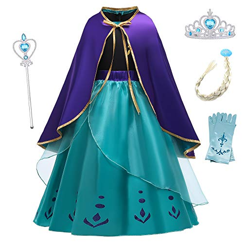 O.AMBW Vestido Azul Disfraz Anna para Nias de 2 a 9 aos Vestido Princesa Frozen Cosplay Reina de la Nieve Disfraces y Accesorios con Capa Regalo Cumpleaos Navidad Festival Carnaval Halloween