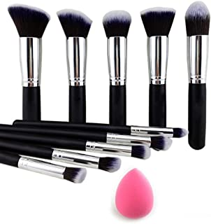 TYA GIRL10 Pieces Makeup Brushes Set Tool Pro Foundation Eyeliner Eyeshadow (Black) with Sponge Puff (Colour May Vary)