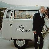 Calcomanías de vinilo para ventana con diseño de Just Married Pegatinas de boda para coche, calcomanía de vinilo troquelada divertida para portátil kba016