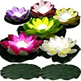 LACGO LED Waterproof Floating Lotus Light, Pond Light, Battery Operated Lily Flower White Light, Flower Night Lamp, Pool Garden Fish Tank Wedding Decor(Pack of 6)+(2 Lily Pad 8'')