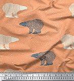 Soimoi Orange Kunstseide Stoff Schnee & Bär Tier gedruckt