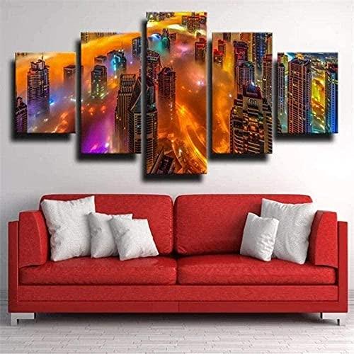 cuadro en lienzo impresión de 5 piezas - Enmarcado y listo para colgar metrópolis Dubai 150x80cm
