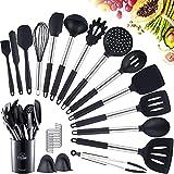 TYLINK Juego de utensilios de cocina de silicona, 17 piezas, antiadherentes, resistentes al calor, con mango de acero inoxidable, color negro