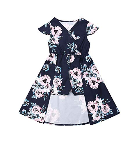 Toddler Baby Girl Sundress Ruffle Sleeve Floral High Low Shorts Maxi Dress Summer Outfits (Dark Blue-1, 3-4 Years)