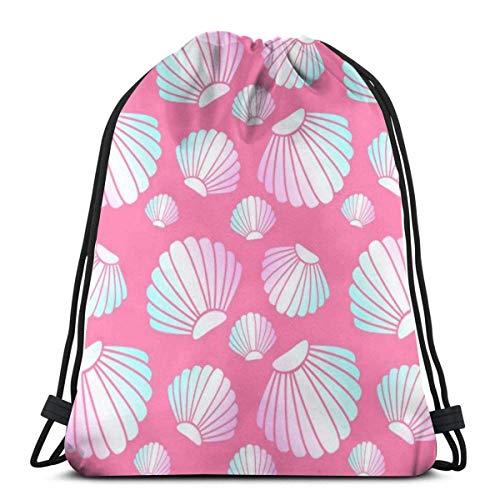 BXBX Bags Seamless Pattern Holographic Shell On Pink Festival Shoulder Bag Swimming Bag PE Bag Dance Bag Drawstring Bags
