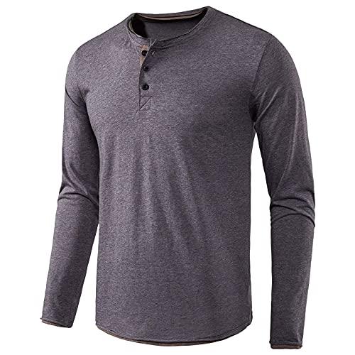 pamkyaemi Herren Longsleeve Langarmshirt Basic Langarm Funktionsshirt Trainingsshirt Baumwolle Oversized Golf T-Shirt Polohemd Herren Einfarbige Busness Shirt