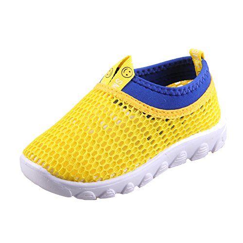 CIOR Toddler Kids Water Shoes Breathable Mesh Running Sneakers Sandals for Boys Girls Running Pool Beach U420STWX001-Yellow-28