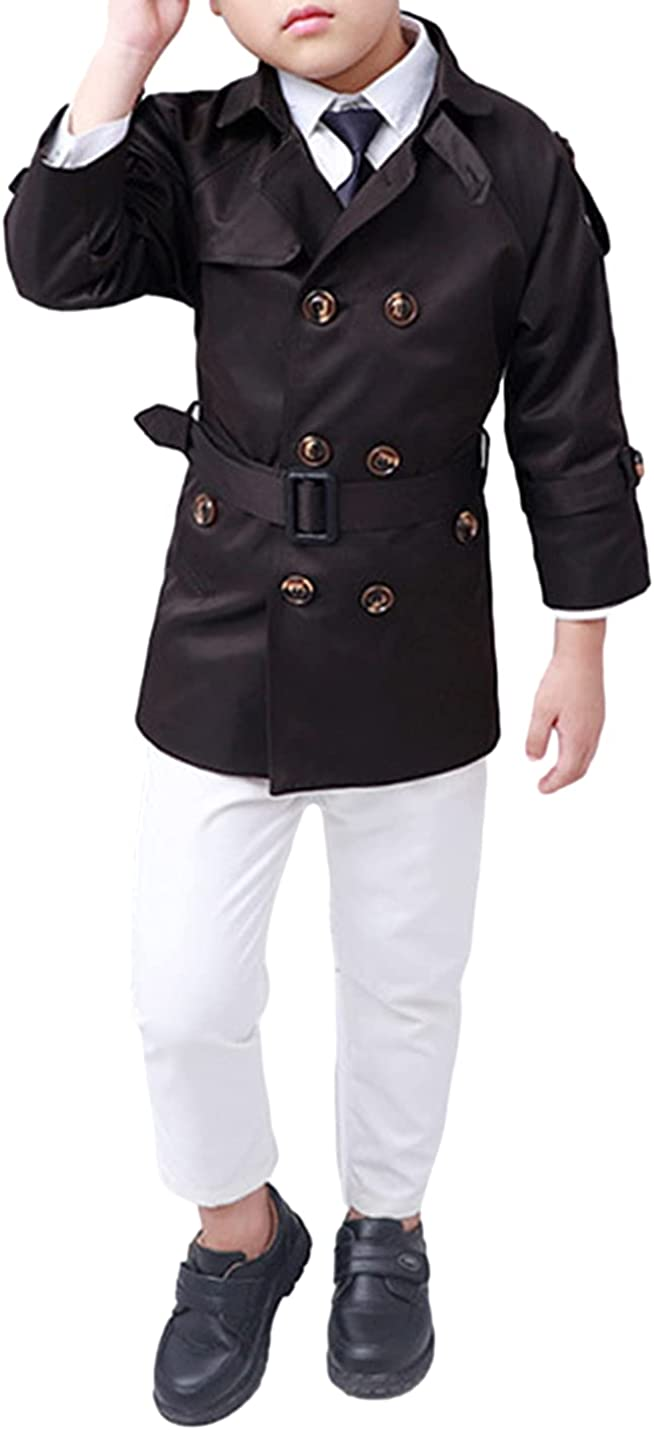 AMEBELLE Toddler Boys' Double Breasted Trench Coats Classic Belted Peacoat with Pocket