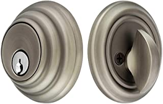 Solid Brass Single Cylinder Low Profile Deadbolt Antique Pewter with 2 3/4