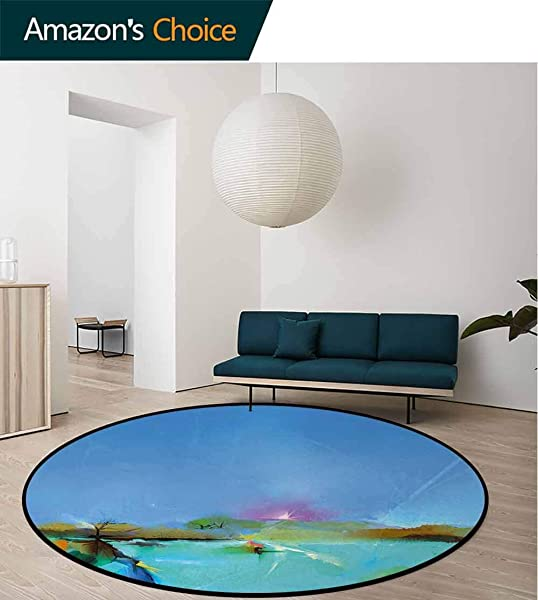 Art Non Slip Area Rug Pad Round Abstract Sunrise Nature Scenery With Fantasy Brushstroke Effects Expression Picture Protect Floors While Securing Rug Making Vacuuming Diameter 59 Inch Blue Aqua