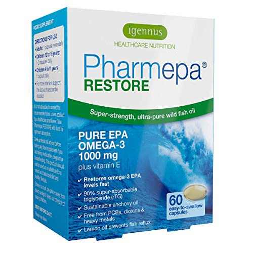 Pharmepa RESTORE Fischölkapseln mit 90% Omega-3 EPA Gehalt, Hochdosiert, Dreifache Stärke, 1000mg reines EPA in wiederveresterter Triglyceridform pro Tagesdosis, 60 Kapseln