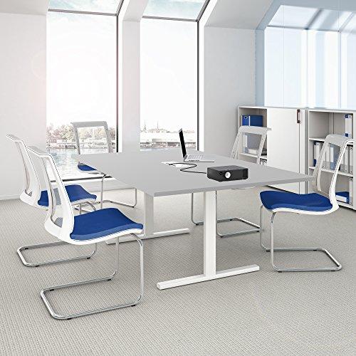 Easy Konferenztisch 200x120 cm Lichtgrau mit ELEKTRIFIZIERUNG Besprechungstisch Tisch, Gestellfarbe:Weiß