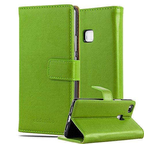 Cadorabo Custodia Libro per Huawei P9 LITE in VERDE ERBE - con Vani di Carte, Funzione Stand e Chiusura Magnetica - Portafoglio Cover Case Wallet Book Etui Protezione