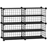 SONGMICS 4-Tier Shoe Rack Organizer, Closet Shoe Storage with Plastic Shelves and Metal Wire Sides, for Hallway, Living Room, Stackable, 32.7 x 12.2 x 24.8 Inches, Black ULPM401B01