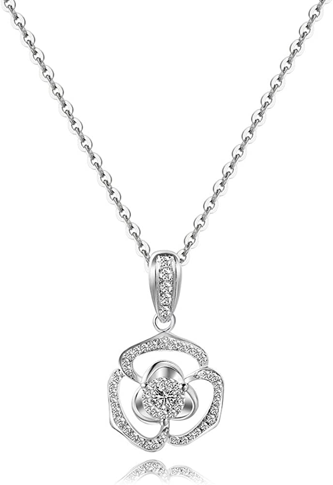 """Carleen Solid 18K White Gold Flower Necklace Luxury Design Diamond Pendant Necklaces for Women Family Holiday Gifts, 18"""" Chain"""