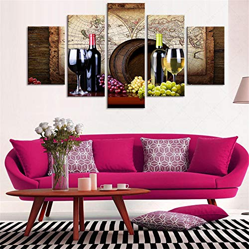 N\A Cuadros Decoracion Salon Modernos - Lienzos Cuadros para Dormitorios - Cuadros para Pasillo - Vino Tinto Uvas Barricas De Roble