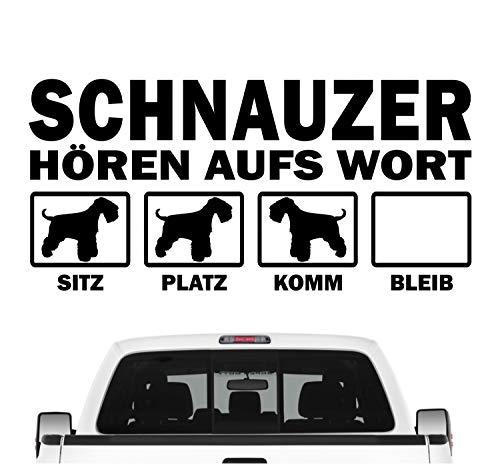 Siviwonder Schnauzer Mittel Zwerg hört aufs Wort Hunde Auto Aufkleber Autoaufkleber Hund Folie Farbe Schwarz, Größe 20cm