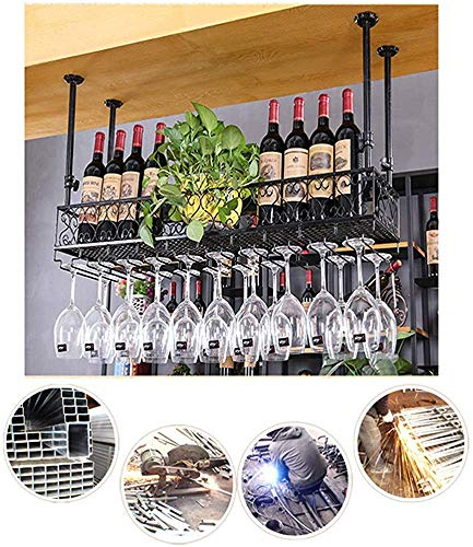 Colgando estante del vino, vino estante de la taza bastidor y el vino taza Baca estante de hierro al revés mueble vaso decorativo estante cocina de un restaurante de barra de bar,60cm/23.62in-Black