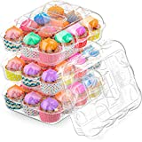 BAKERYBEST Cupcake Boxes, Disposable Plastic Containers Holder, 12 Count 20 Pack Carrier, ...
