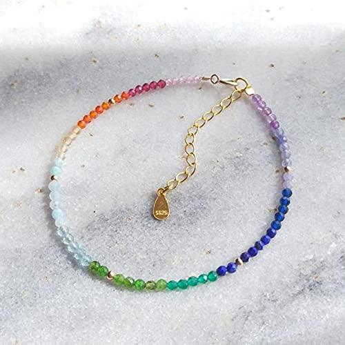 DALIU Única pequeña Piedra curativa arcoíris Pulsera Ajustable de Plata de Ley 925 de Color Dorado para Mujeres y niñas joyería