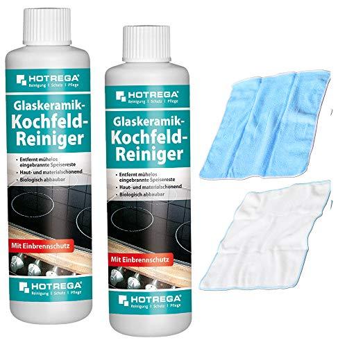 Glaskeramik Kochfeld Reiniger Hotrega 2er Set 500 ml + 2X Microfasertuch (31,96EUR/L)