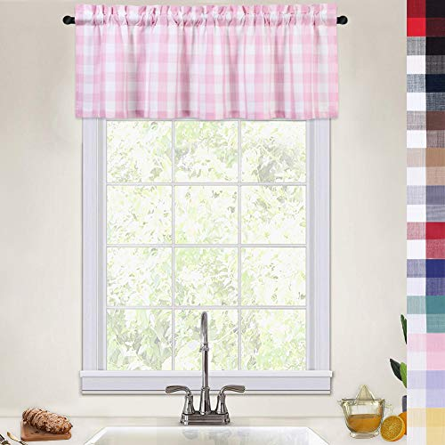 Pink Curtain Valances for Windows Girls Room, Thick Yarn Dyed Buffalo Check Gingham Valance Curtains for Kitchen Cafe Bathroom Window Curtains, 52x15 Inches