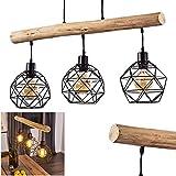 Suspension Bacabal en bois et métal noir, lampe pendante rétro-industrielle idéale pour un salon vintage, hauteur max. 120 cm, pour 3 ampoules E27 max. 60 Watt, compatible ampoules LED