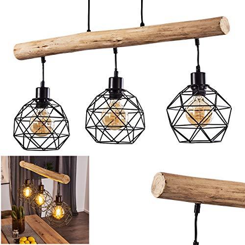 Pendelleuchte Bacabal, Hängelampe aus Metall/Holz in Schwarz/Natur, 3-flammig, 3 x E27 max. 60 Watt, höhenverstellbare Hängeleuchte in Gitter-Optik, geeignet für LED Leuchtmittel…