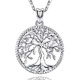 Aniu Silver Necklace for Women Girls, Family Tree of Life Sterling Silver Pendant with Fine Jewelry Gift Box, 18 Inches Chain for Wife Mom Grandma Girlfriend
