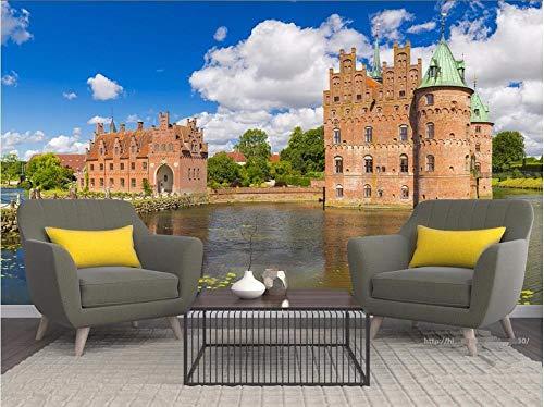 QFAZO Benutzerdefinierte Wandbild 3d Foto Tapete Dänische Burg Landschaft Dekoration Malerei 3D Wandbilder Tapete für Wohnzimmer Wände, 300 x 210 cm (118,1 x 82,7 Zoll)