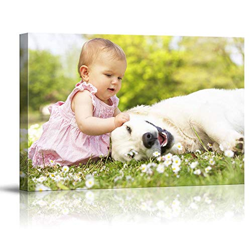 SIGNFORD Personalized Canvas Wall Art, Cute Baby and Dogs Customize Your Photo to Canvas Digitally Printed Poster - 8'x10'