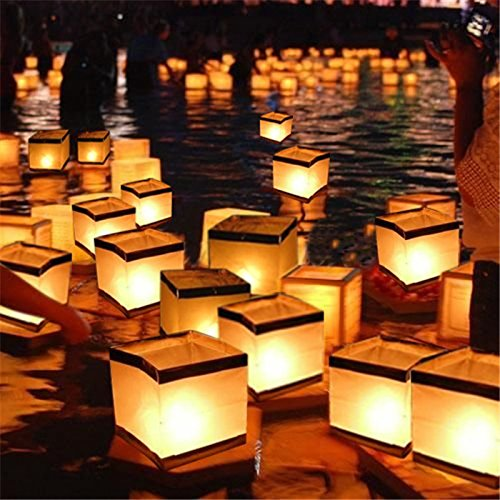 Bluelover 10Pcs Wasser Schwimmende Kerze Halter wasserdichte Kerzenhalter Laterne Wollen Licht Kerze 15X15Cm