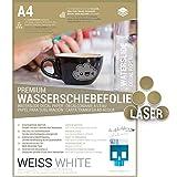 SKULLPAPER diapositiva ad acqua Film bianco, sottile carta A4 per ceramica, vetro, legno, candele, metallo, plastica, modellismo - per stampante laser (8 fogli)