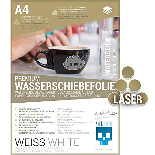 SKULLPAPER® Wasserschiebefolie WEISS für Laserdrucker - hauchdünn DIY Decal Abziehbild - Nassschiebefolie für Keramik, Glas, Kerzen, Metall, Kunststoff, Modellbau (A4-8 Blatt)