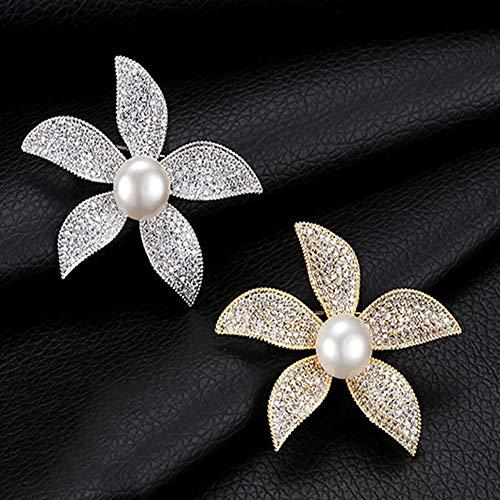 XinQing-Broche Americana Broche Temperamento suéter Cuello Flor Pin (Color : Gold)