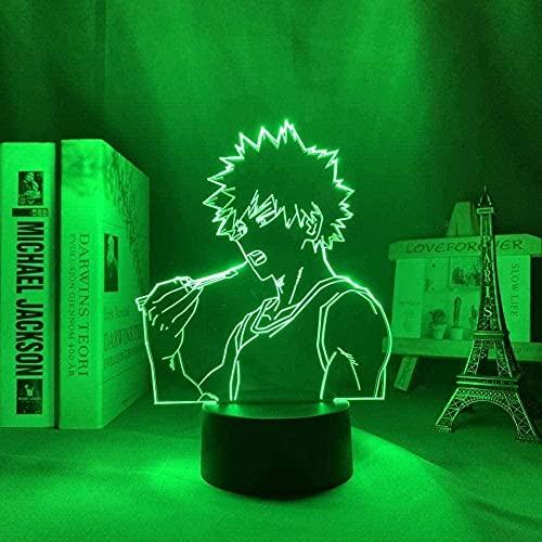FUTYE Lámpara 3D Luz de Noche Anime My Hero AcademiaShota Aizawa para decoración de dormitorio Regalo de Cumpleaños Manga Gadget Aizawa Light-7_Colors_Touch