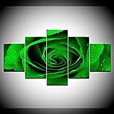 DGGDVP Green Rose HD Impreso 5 Piezas/Set Pinturas de Arte de Pared modulares Obra de Arte Impresión en Lienzo para decoración del hogar Arte de Pared Tamaño de Imagen 2 Sin Marco