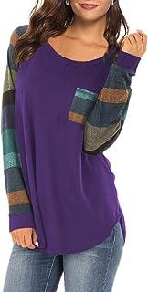 XLDD Womens Long Sleeve Casual T Shirt Color Block Shirts Tops Raglan Blouses Tunic Soft Lightweight T-Shirt Breathable Au...