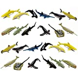 Fun Central 2 Pack of 12 Pieces - Whale and Shark Figure Toys for Toddlers, Boys & Girls - Assorted Styles