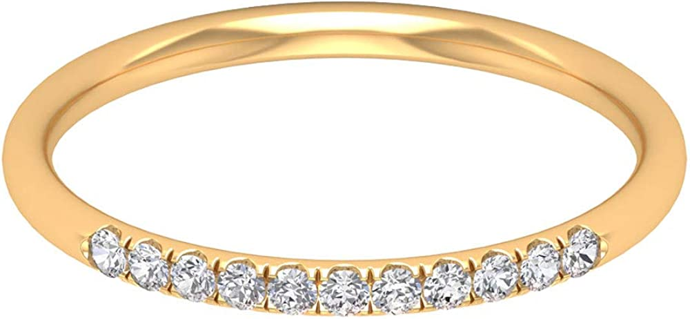Eternity Band Ring, 1.50 MM Brilliant Round Moissanite Wedding Band, Solid Gold Stackable Band Ring, Bridesmaid Gift, 14K Gold