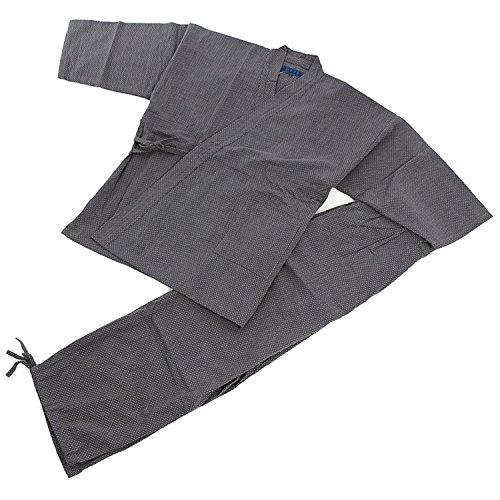 Edoten Samue Arbeitskleidung Herren Japan Kimono Quilt Sashiko (Traditionelle japanische Handstickerei) Arbeitskleidung DIY Jacke Hose Gr. L, grau