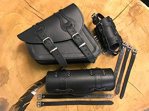 ORLETANOS Komplettset Seitentasche kompatibel mit Sportster 1200 Flame Rolle + Tasche Lenkerrolle Leder Haley Davidson HD Sporty Set Seitentasche Satteltasche Lowrider Forty Eight 48 1200 883 Iron XL