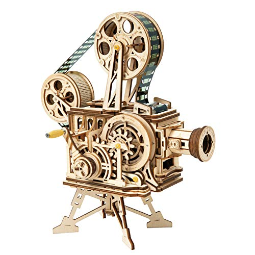 Robotime Neue DIY Modellbausätze Mechanisches Modell 3D Holzpuzzle Filmprojektor Schatzzugspielzeug für Kinder
