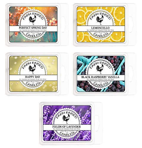 All American Made Farm Raised Candles Spring Assorted 5 Pack. 15 Ounces Essential Oil Scented Soy Wax Melts. Lavender, Happy Day, Limoncello, Perfect Spring, Black Raspberry Vanilla