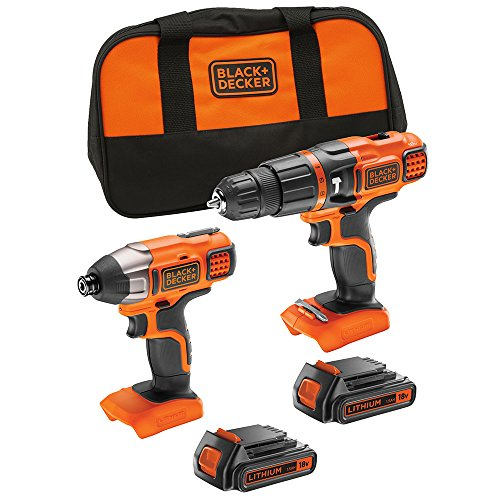 BLACK+DECKER 18 V Cordless Hammer Drill Power Tool with Impact Drill Driver and Storage Tool Bag, 2 x 1.5 Ah Lithium-Ion Batteries, BDCHIM18B-GB