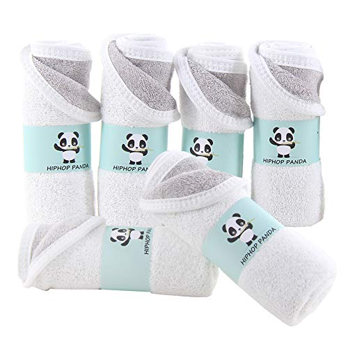 """Bamboo Facial Washclothes-Luxury Bamboo Hypoallergenic Makeup Remover Cloth for Sensitive Skin - Reusable Cleansing Cloth for Face - 10""""x10"""" Grey and White"""
