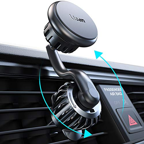 Magnetic Phone Car Mount Lisen Vent Phone Holder, [Upgraded Clip] Stable Phone Car Holder Mount [360° Rotate Arm] Unobstructed Car Vent Phone Mount Compatible with 4-11 Inch Smartphones