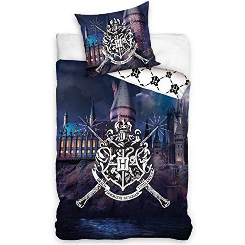 SETINO Harry Potter Bettwäsche-Set, Bettbezug 140x200 + Kissenbezug 65x65 cm, Baumwolle, Hogwarts